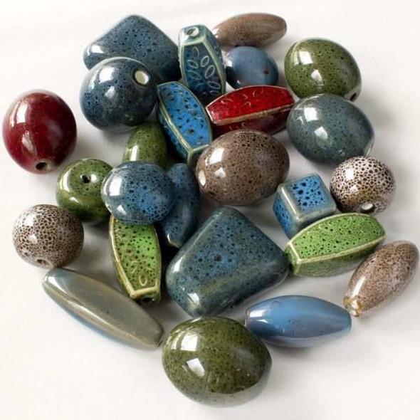 A Bulk Mix of 25 Loose Ceramic Beads