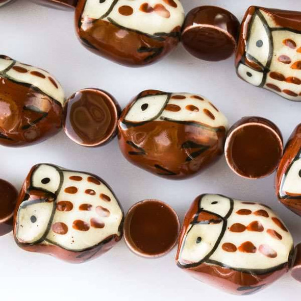 Ceramic 14x16mm Brown Owls alternating with 10mm Brown Coins