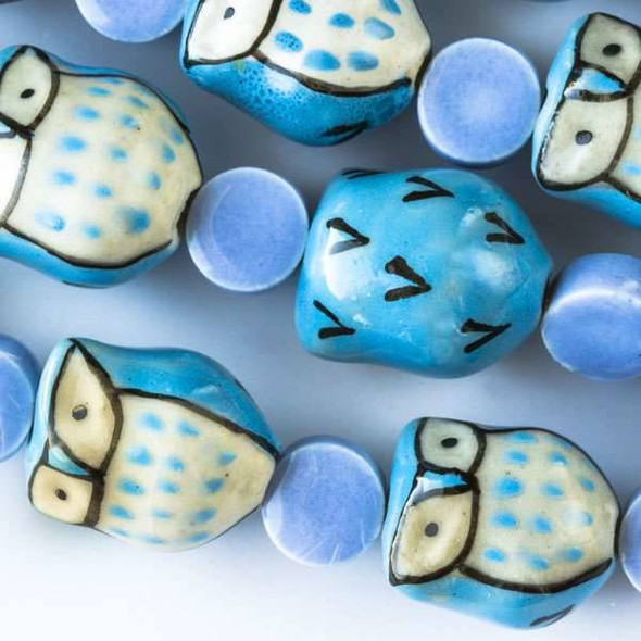 Ceramic 14x16mm Light Blue Owls alternating with 10mm Periwinkle Coins
