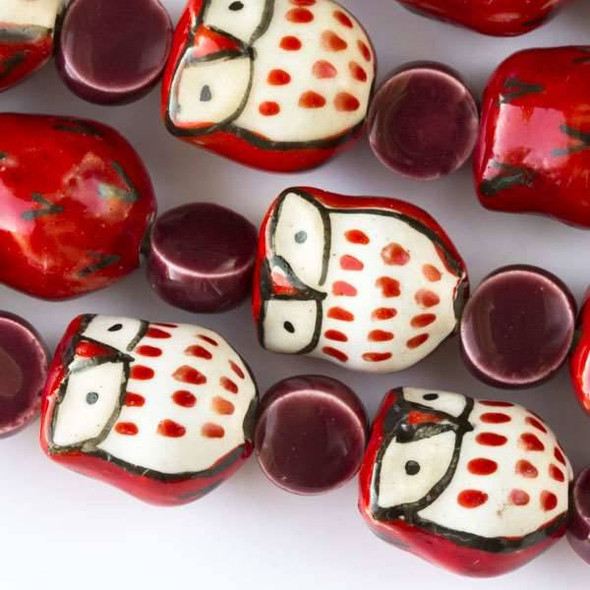 Ceramic 14x16mm Red Owls alternating with 10mm Dark Pink Coins