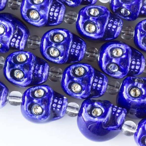 Ceramic 13mm Cobalt Blue Skulls with Crystal Eyes