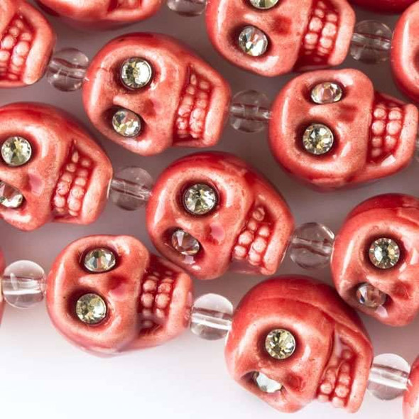 Ceramic 13mm Coral Red Skulls with Crystal Eyes