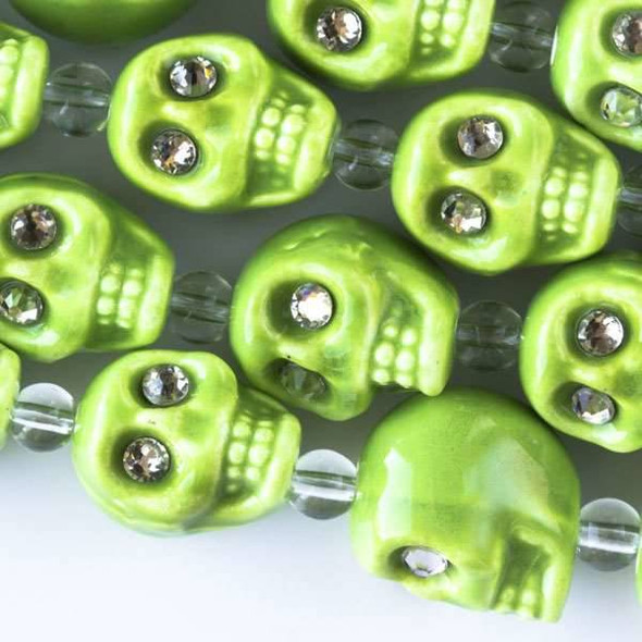 Ceramic 13mm Lime Green Skulls with Crystal Eyes