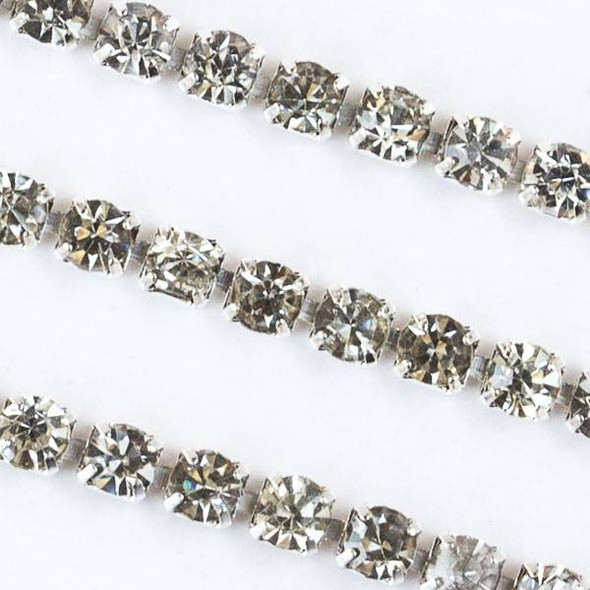 Silver Base Metal 3mm Rhinestone Cup Chain with Crystals - 1 foot