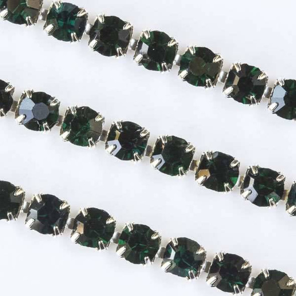 Silver Base Metal 3mm Rhinestone Cup Chain with Emerald Green Crystals - Spool