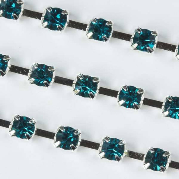 Silver Base Metal 3mm Cup Chain with 3mm Spaces and Dark Aqua Blue Crystals - 1 foot