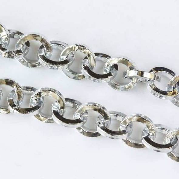 Silver Aluminum Chain with 7mm Squared Round Links - chainK15305s - 1 foot