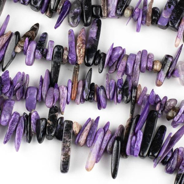 Charoite (Natural Gemstone) 10-28mm Stick Chip Beads - 15 inch strand
