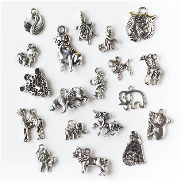 An Assorted Mix of 25 Silver Animal Charms