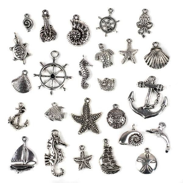 An Assorted Mix of 25 Silver Ocean and Sea Life Themed Charms