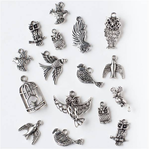 An Assorted Mix of 25 Silver Bird Charms