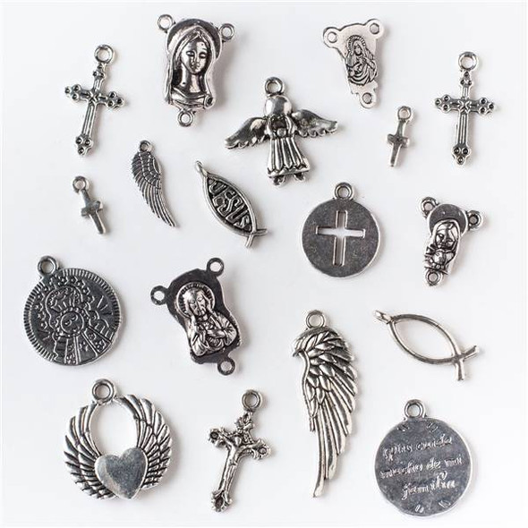 An Assorted Mix of 25 Silver Christian Themed Charms