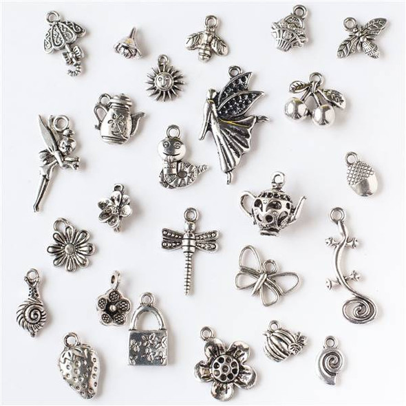 An Assorted Mix of 25 Silver Garden Party Themed Charms