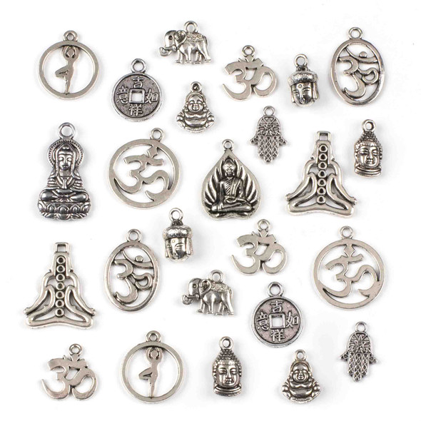 An Assorted Mix of 25 Silver Yoga Themed Charms