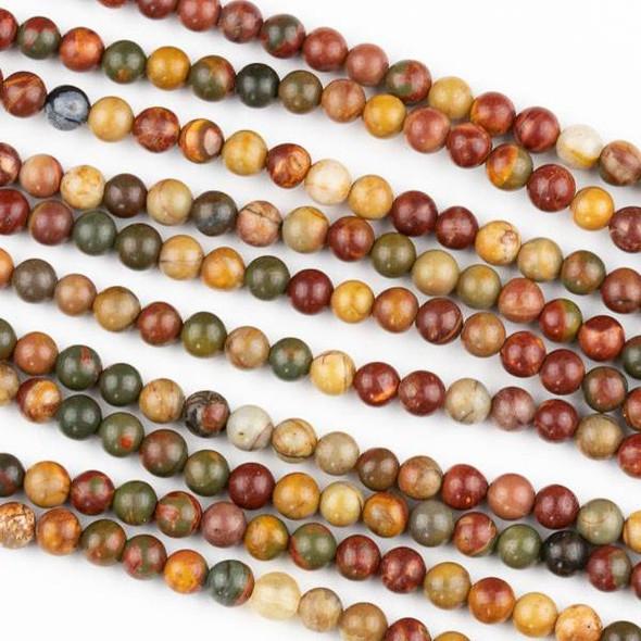 Cherry Creek Jasper 4mm Round Beads - 15.5 inch strand