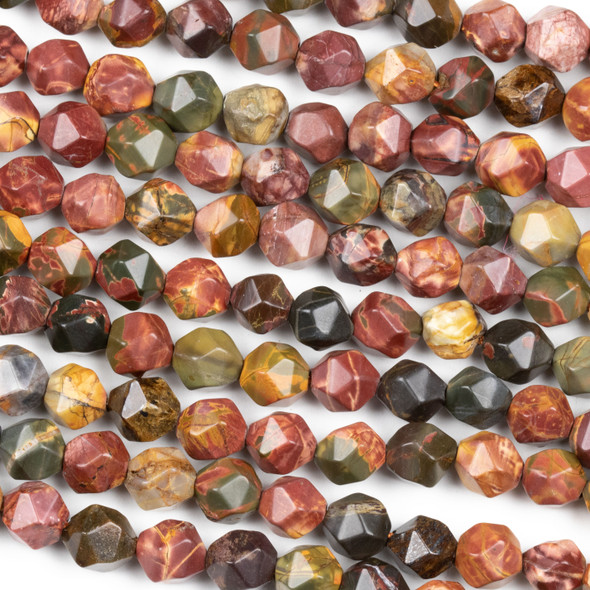 Red Cherry Creek Jasper 8mm Simple Faceted Star Cut Beads - 16 inch strand