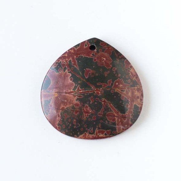 Red Cherry Creek Jasper 40mm Top Front to Back Drilled Almond Pendant with a Flat Back - 1 per bag