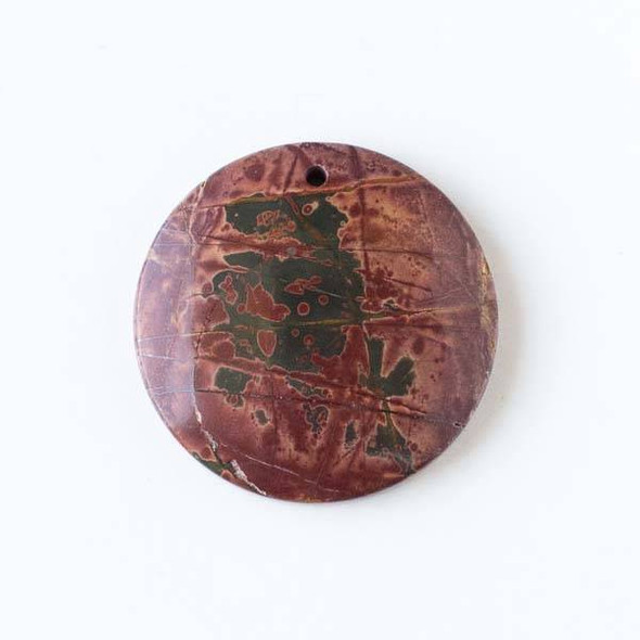Red Cherry Creek Jasper 40mm Top Front to Back Drilled Coin Pendant with a Flat Back - 1 per bag