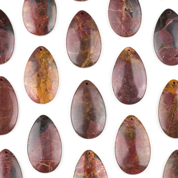 Red Cherry Creek Jasper 30x50mm Top Front to Back Drilled Teardrop Pendant with a Flat Back - 1 per bag