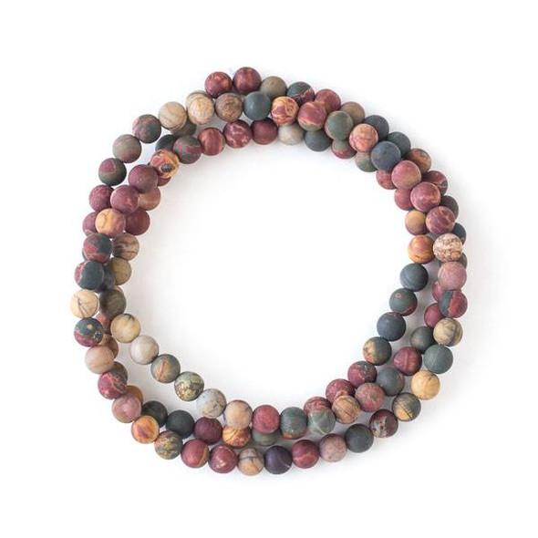 Matte Red Cherry Creek Jasper 6mm Mala Round Beads - 29 inch strand