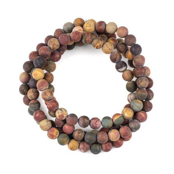 Matte Red Cherry Creek Jasper 8mm Mala Round Beads - 36 inch strand