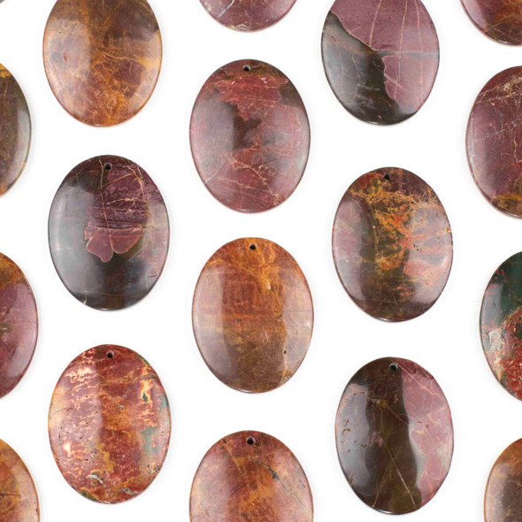 Red Cherry Creek Jasper 35x45mm Top Front to Back Drilled Oval Pendant with a Flat Back - 1 per bag