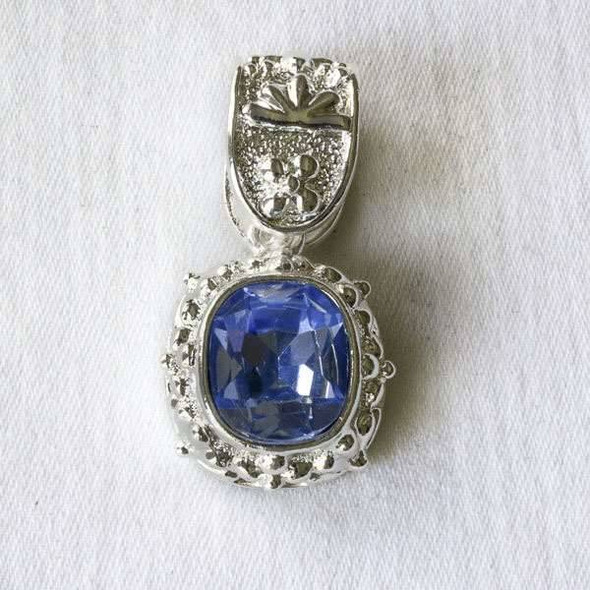 Glass Crystal 20x35mm Light Sapphire Pendant with a Silver Base Metal Bail