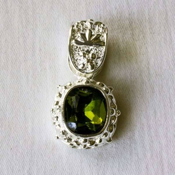 Glass Crystal 20x35mm Peridot Pendant with a Silver Base Metal Bail