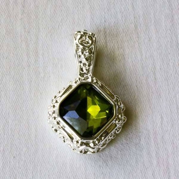 Glass Crystal 20x32mm Peridot Diamond Pendant with a Silver Base Metal Bail