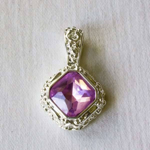 Glass Crystal 20x32mm Rosaline Diamond Pendant with a Silver Base Metal Bail