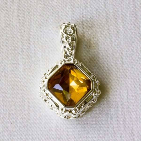 Glass Crystal 20x32mm Topaz Diamond Pendant with a Silver Base Metal Bail
