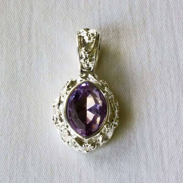 Glass Crystal 17x32mm Alexandrite Marquis Pendant with a Silver Base Metal Bail