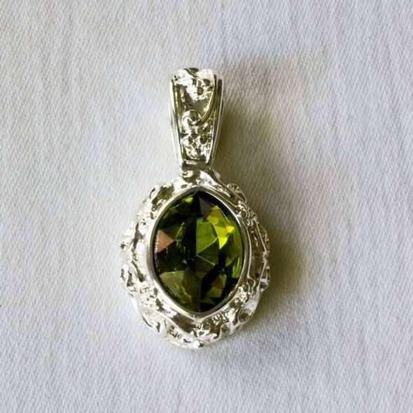 Glass Crystal 17x32mm Peridot Marquis Pendant with a Silver Base Metal Bail