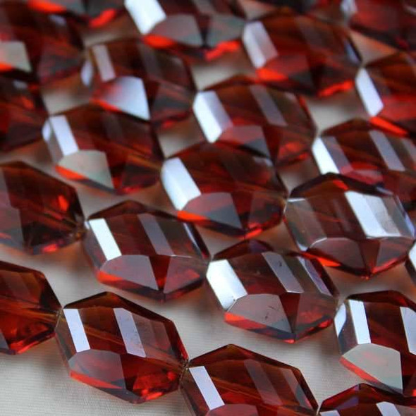 Glass Crystal 12x18mm Topaz Faceted Octagon - approx. 8 inch strand