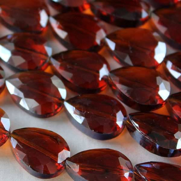 Glass Crystal Faceted 13x18mm Topaz Teardrop - approx. 8 inch strand