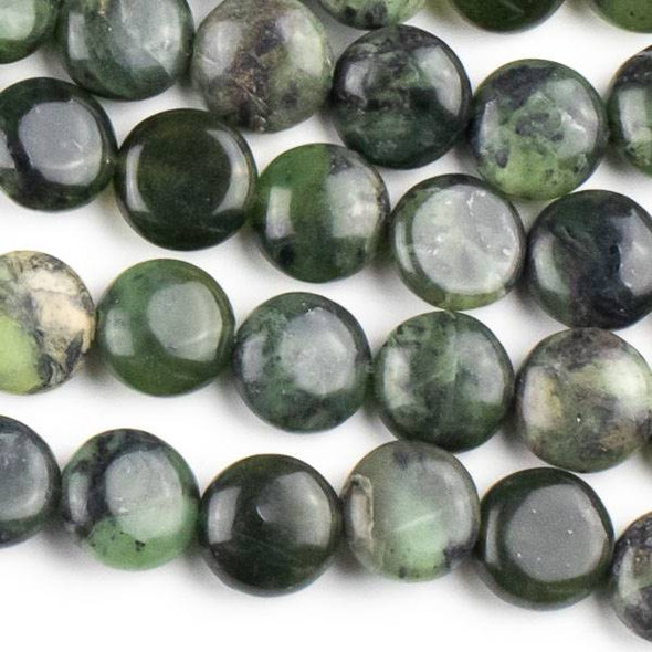Chinese Jade 10mm Coin Beads - approx. 8 inch strand, Set A
