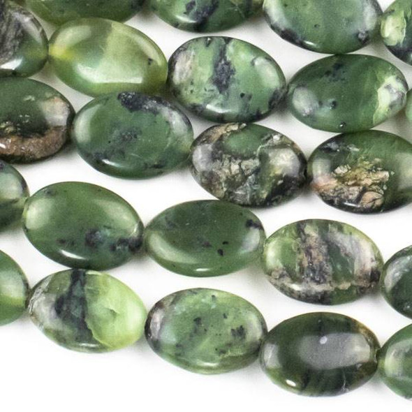 Chinese Jade 10x14mm Oval Beads - approx. 8 inch strand, Set A