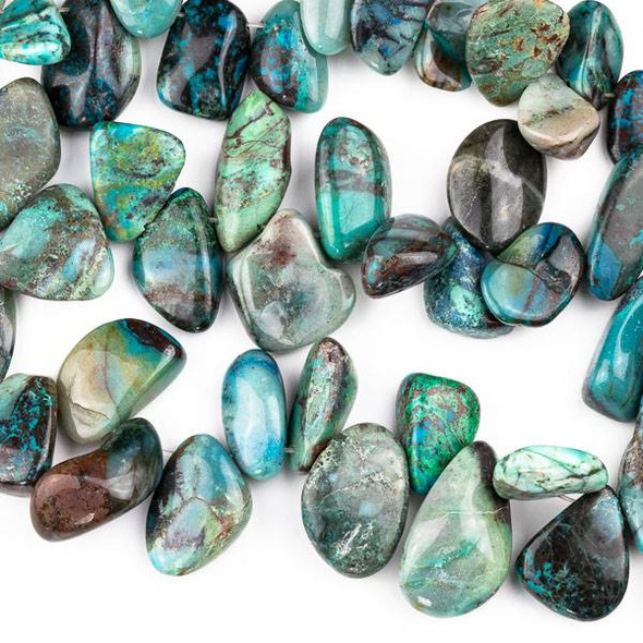 Chrysocolla 8x18-20x40mm Top Drilled Nugget Beads - 15 inch strand