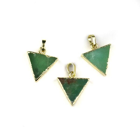 Chrysoprase 15x16mm Triangle Pendant with Gold Plated Brass Edges and Bail - 1 per bag