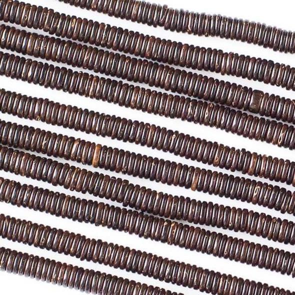 Coconut Wood 1x4mm Brown Heishi Beads - 16 inch strand