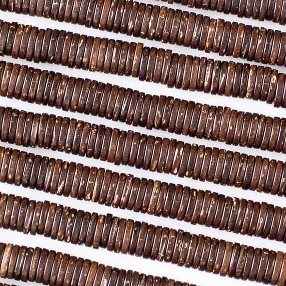 Coconut Wood 1x6mm Brown Heishi Beads - 16 inch strand