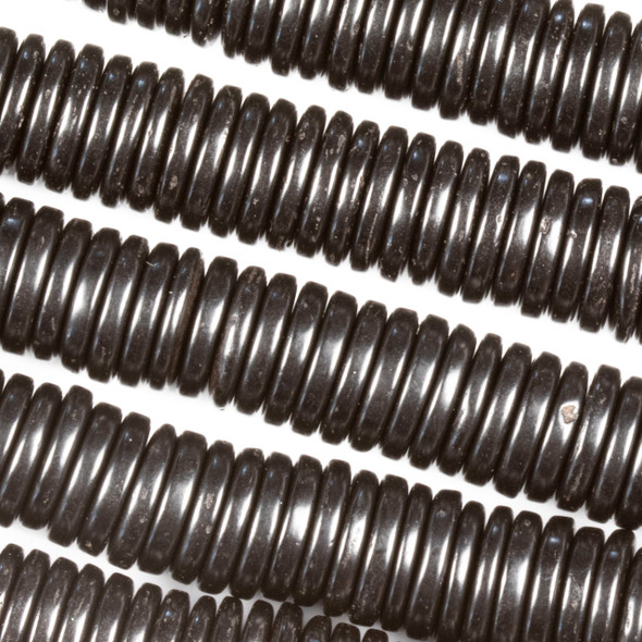 Coconut Wood 2x10mm Black Heishi Beads - 16 inch strand