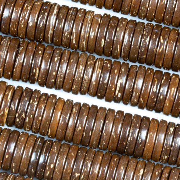 Coconut Wood 2x10mm Brown Heishi Beads - 16 inch strand