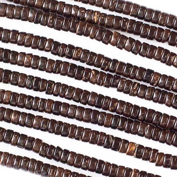 Coconut Wood 2x4mm Brown Heishi Beads - 16 inch strand