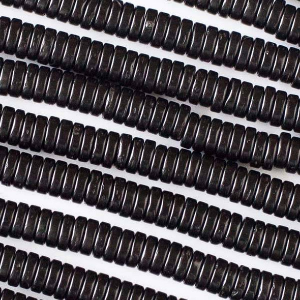 Coconut Wood 2x6mm Black Heishi Beads - 16 inch strand