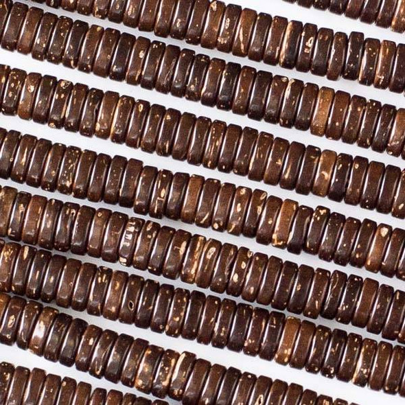 Coconut Wood 2x6mm Brown Heishi Beads - 16 inch strand