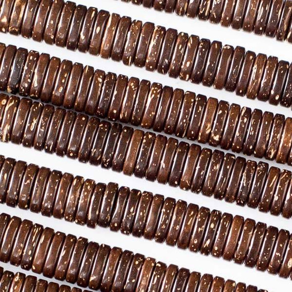 Coconut Wood 2x8mm Brown Heishi Beads - 16 inch strand