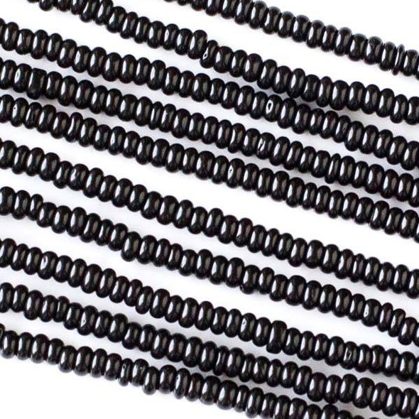 Coconut Wood 2x4mm Black Rondelle Beads - 16 inch strand
