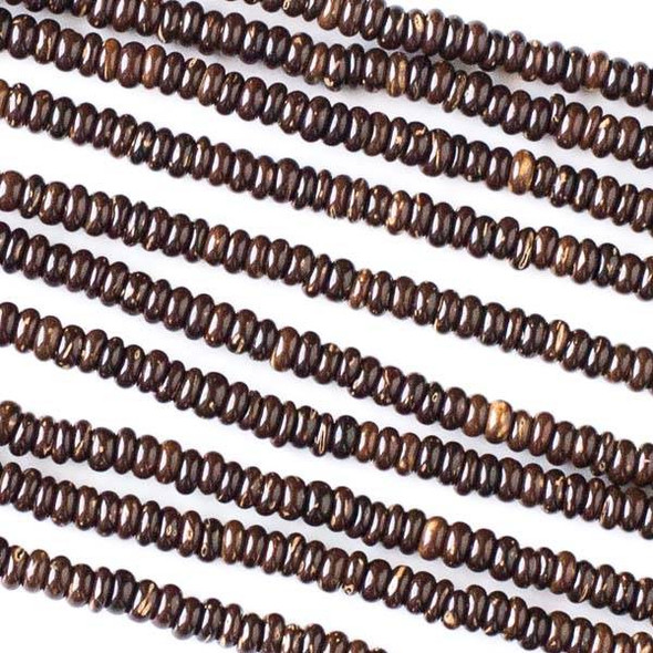 Coconut Wood 2x4mm Brown Rondelle Beads - 16 inch strand