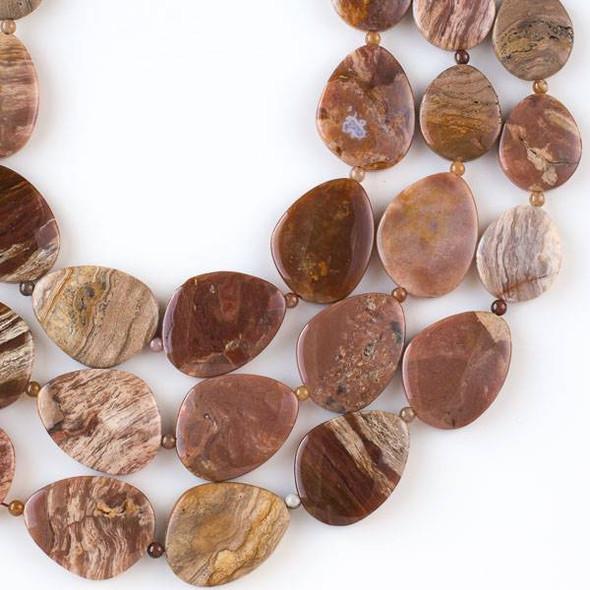 Cola Jasper 20x30mm-30x40mm Free Form Graduated Slab Beads alternating with 4mm Round Beads - 16 inch strand